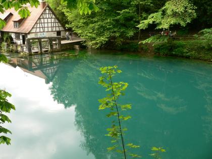 Das Bild zeigt eine größere, rechts türkisblaue Wasserfläche. An ihrem Ufer steht links oben eine Wassermühle. Rechts führt ein von Bäumen überdachter Wanderweg am Wasser entlang.