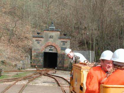 Blick auf den geöffneten, an einem Waldhang gelegenen Eingang eines Bergwerks. Im Vordergrund liegen Schienen der Grubenbahn.