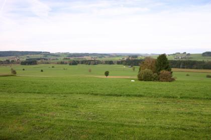 Blick über weite, flachhügelige grüne Wiesen mit Wald- und wenigen Ackerstreifen. Im Hintergrund steigen die Hügel zu beiden Seiten wieder an und sind links auch stärker bewaldet.