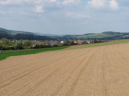 Das Bild zeigt einen leicht gewellten, von links nach rechts ansteigenden steinigen Acker. Im Hintergrund sind Waldstreifen, eine Ortschaft sowie teils grüne, teils bewaldete Höhen erkennbar.