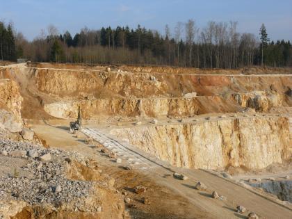Es ist ein Steinbruch mit drei Sohlen sichtbar. Die Grube wird nach rechts tiefer. Es steht hellbraunes bis rötliches Gestein an. Im Hintergrund befindet sich ein Wald.