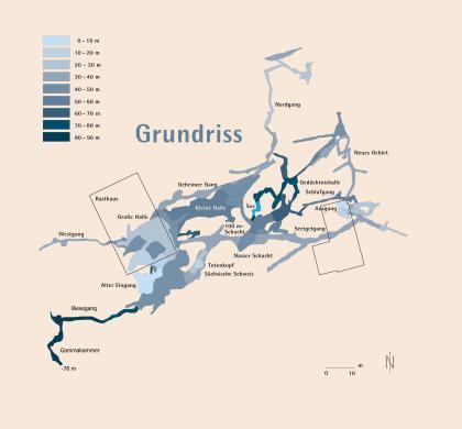 Grafische Darstellung der Laichinger Tiefenhöhle als Grundriss, mit Ausdehnung, weitverzweigtem Gängeverlauf und Tiefenangaben.
