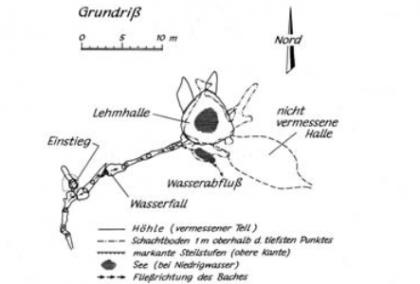 Schwarzweißzeichnung des Kohlhau-Schachtes bei Ebnat mit Einstieg und mehreren Hallen (Aufsicht).