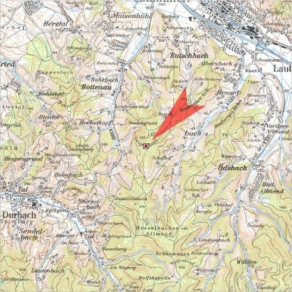 Das Bild zeigt einen Kartenausschnitt mit der Lage des Geigerskopfes zwischen den Ortschaften Bottenau und Ödsbach.