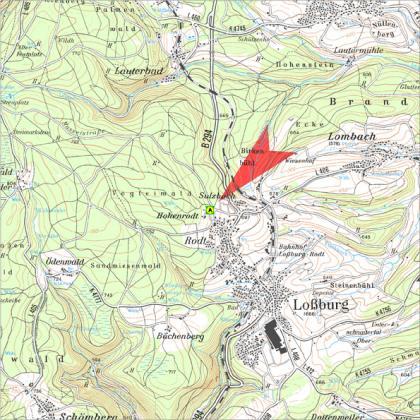 Blick auf eine Karte, die den Standort des Vogteiturms verrät, nördlich der Ortschaft Loßburg.