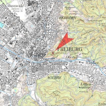 Das Bild zeigt einen Kartenausschnitt mit dem Standort des Freiburger Schlossbergturmes.