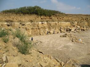 Ansicht einer länglichen Steinbruchwand mit großen gelblichen Quadern unten und kleineren Schichten darüber.