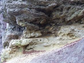 Nahaufnahme einer grauviolett bis graugelb gefärbten Gesteinsschicht, zerfurcht von tiefen Längsrinnen.