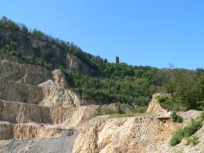 Man sieht hier einen sehr großen Steinbruch. Das gelblich graue Gestein ist links in hohen Stufen aufgeschnitten, dazwischen liegen Abraumhalden. Oben und rechts steht Wald an.