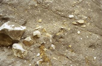 Nahaufnahme von bräunlich grauem, leicht schräg gefurchtem Gestein, in das - vor allem links - hellere Felsbrocken unterschiedlicher Größe eingelagert sind oder lose aufliegen.