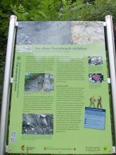 """Das Bild zeigt eine bebilderte grüne Schautafel mit dem Thema: """"Im alten Steinbruch sichtbar – Ein Musterschlot an der Neuffener Steige""""."""