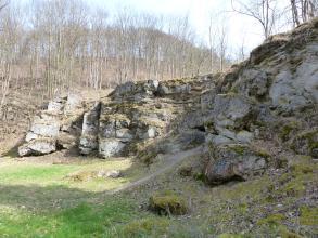 Von rechts nach links schiebt sich hier eine treppenartig aufgebaute Felsstufe ins Bild. Vor den Felsen liegt eine Wiese, deren rechte Seite mit den dazugehörenden Felsen im Schatten liegt. Links erhebt sich ein mit dünnen Bäumen besetzter Hang.