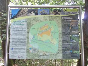 """Das Bild zeigt eine große Schautafel mit Texten und Bildern rund um das Naturschutzgebiet """"Bergrutsch am Hirschkopf"""" bei Mössingen."""