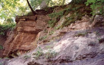 Blick auf eine bewaldete Felsböschung mit markantem, rötlichem Gestein links und violettgrauen Bereichen rechts unten.