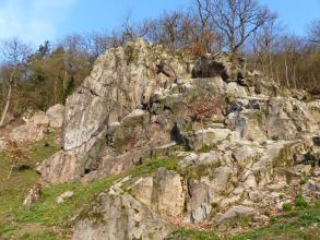 Blick auf eine unterhalb eines bewaldeten Hanges liegende, klippenartige Felsgruppe. Das Gestein ist bräunlich bis grau und besteht aus unterschiedlich hohen, aufeinander geschichteten Blöcken, die teilweise bemoost sind.