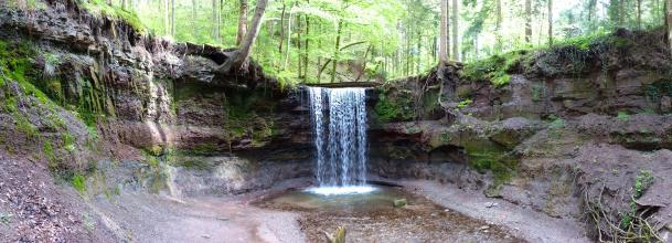 Über eine hufeisenförmig verlaufende Gesteinswände fließt ein schmaler Wasserfall in ein flaches Bachbett. Die obere Kante der Gesteinswände ist mit einzelnen Bäumen bewachsen. Dahinter ist Wald erkennbar.