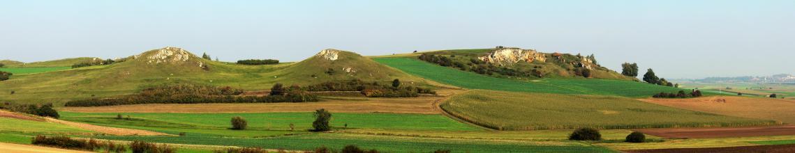 Panoramabild einer hügeligen, grünen Landschaft mit einem aufgelassenen Steinbruch rechts der Bildmitte. Links erheben sich zwei kleinere Berge, auf deren Kuppen Felsen hervortreten. Im Vordergrund Felder und vereinzelte Bäume.