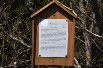 Blick auf ein braunes, überdachtes Holzschild mit Informationen zum Sesselfelsen. Im Hintergrund sind Äste von Bäumen zu erkennen.