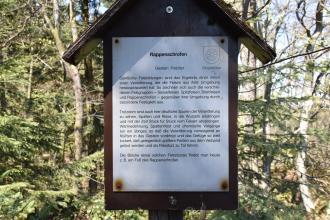 Zu sehen ist eine überdachte Holztafel mit wissenswerten Informationen zum Rappenschrofen, einem Aussichtsfelsen des Felsenweges Ottenhöfen.