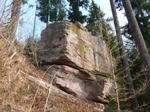 Der Blick geht aufwärts zu einem zweigeteilten, kantigen Felsen, der an einen nach links aufsteigenden Waldhang gelehnt ist.