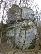 Blick auf einen mächtigen grauen Felsblock. Der Fels steht an einem bewaldeten Hang und scheint aus mehreren Einzelblöcken zusammengesetzt zu sein, was Furchen und Nischen im oberen Teil anzeigen.