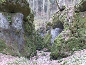 Blick auf zwei graue, stark bemooste Felsformationen, die sich gegenüberstehen und so eine schmale Schlucht bilden. Im Hintergrund ist ein bewaldeter Hang erkennbar.