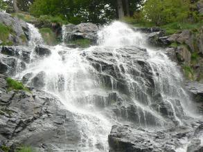 Das Bild zeigt einen breiten Wasserfall, der mehrere kantige, graue Felsstufen mit weißer Gischt überspült. Am oberen Bildrand sind Bäume und Sträucher erkennbar.