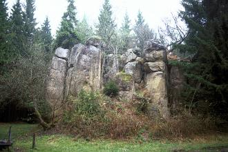 Blick auf eine Gruppe hellgrauer Steinsäulen, die ringförmig zusammenstehen. Die Steinsäulen sind von Sträuchern und Bäumen umgeben.