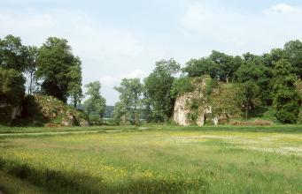 Hinter einer flachen, blühenden Wiese erheben sich links und rechts zwei felsige Hügel, die teils von Bäumen umgeben sind. Der Hügel rechts ist höher und zeigt an einer Stelle eine größere Gesteinswand.