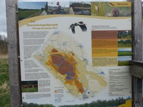 Auf dem Foto ist eine große Tafel abgebildet, mit Übersichtskarte und nützlichen Informationen zum Naturschutzgroßprojekt Pfrunger-Burgweiler-Ried.