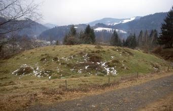 Blick auf eine runde, höckerartige Erhebung, die entlang eines Weges verläuft. Hinter dem begrünten Hügel sind mehrere Nadelbäume, verschneite Berge sowie links hinten eine Stadt zu erkennen.