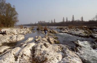 Blick auf einen breiten Fluss mit Felsinseln und felsigem Uferbereich links. Auch im Vordergrund liegen weißliche, gewölbte Felsplatten. Rechts fließt der Fluss in einer Stufe schäumend an den Felsen vorbei.