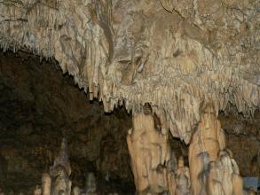 Das Bild zeigt dünne, von einer Höhlendecke hängende fahlbraune Tropfsteine, denen rechts dickere Stalagmiten entgegenwachsen. Der linke, hintere Höhlenteil liegt im Dunkel.