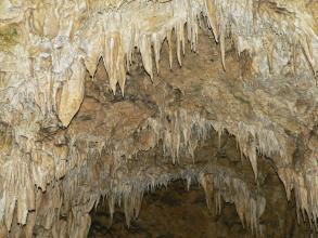 Auf diesem Bild sieht man mehrere Reihen bogenförmig angeordnete, von einer Höhlendecke hängende und durch künstliches Licht erhellte dünne Tropfsteine.