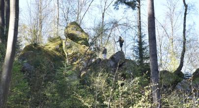 Blick auf einen Felsenrücken, der sich von rechts nach links oben einen Waldhang hinaufzieht. Oben, links der Mitte, bilden zwei Einzelfelsen einen markanten Felsenkopf.