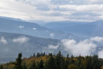 Blick aus großer Höhe über Baumwipfel auf ausgedehnte, bewaldete Berge, die sich bis zum Horizont staffeln. Im Vordergrund liegt die nach links abfallende Kuppe eines Berges. Zwischen den Bergwäldern liegen tiefhängende Wolken.