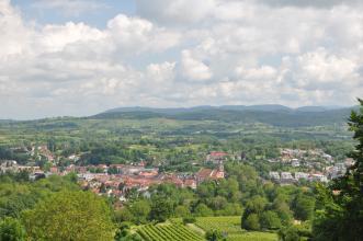 Blick von erhöhtem Standort über Baumspitzen und Rebanlagen auf eine hügelige, mit Bäumen und einer Ortschaft durchsetzte Landschaft. Im Hintergrund erheben sich nach rechts hin bewaldete Höhen und Berge.