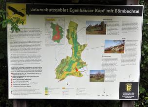 Blick auf eine farbige Schautafel mit Lagekarte und Bildern vom Naturschutzgebiet Egenhäuser Kapf mit Bömbachtal.