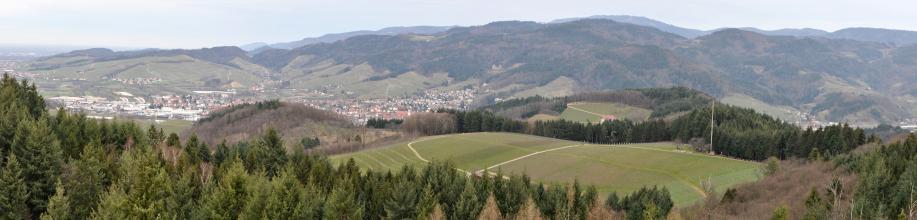 Panoramablick aus großer Höhe über Waldberge auf Rebanlagen (rechts) und ein besiedeltes Tal. Zum Hintergrund hin erheben sich weitere bewaldete Berge.