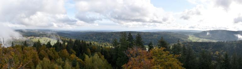 Blick aus großer Höhe über ausgedehnte Wälder, einen grünen, teilweise besiedelten Hügel (links) sowie ein zwischen bewaldeten Bergen liegendes grünes Tal (rechts).