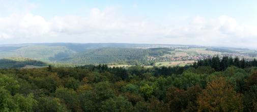 Vom Aussichtsturm des Katzenbuckels geht der Blick über ausgedehnte Waldflächen zu einer hügeligen Landschaft mit Feldern, Wiesen und bewaldeten Bergen. Ganz rechts ist zudem eine Siedlung erkennbar.