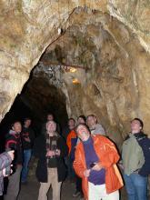 Eine staunende Gruppe von Besuchern schaut zu einer von künstlichem Licht erhellten Höhlendecke. Der hintere, linke Teil der bogenförmig gewölbten Höhle liegt im Dunkel.