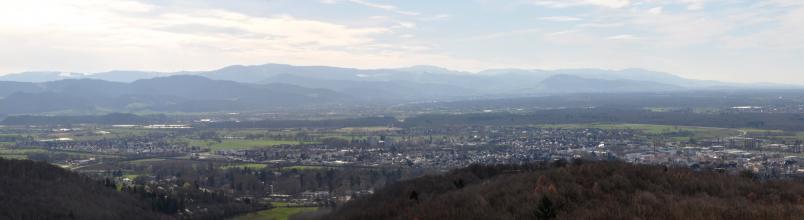Blick von erhöhter Warte auf eine flache, stark besiedelte Ebene. Im Vordergrund sowie hinter der Ebene liegen Wälder und bewaldete Hügelketten. In der Ferne sind höhere Berge, teils mit von Schnee bedeckten Hängen, zu erkennen.