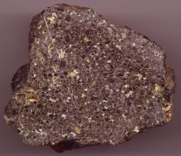 Nahaufnahme eines Gesteinsbrockens mit unregelmäßiger Form, violettgrau mit schwarzen, gelben und weißen Sprenkeln.