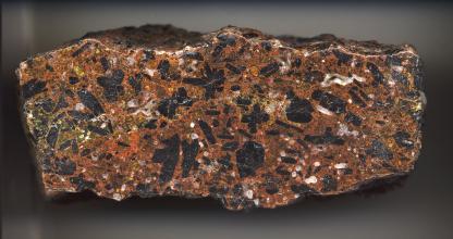 Großaufnahme eines länglichen Gesteinsbrockens mit gewellten Kanten und geschliffener Oberfläche. Das Gestein ist rötlich braun mit kleinen weißen und gelben sowie großen schwarzen Einschlüssen.