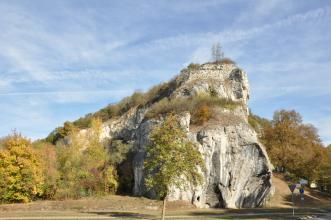 Das Bild zeigt einen markanten, nach rechts hin ansteigenden Felsen, der rechts und zum Vordergrund hin abbricht. Das weißlich graue Gestein ist oben mit Bäumen bewachsen. Links im Bild stehen ebenfalls Bäume, die den Fels verdecken.