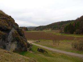 Das Bild zeigt ein schmales, links von Felsen und rechts von bewaldeten Hängen flankiertes Tal, in dem sich Grünland, aber auch - wie im Mittelgrund - Ackerflächen finden.