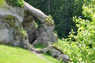Hier sieht man eine von links ins Bild kommende graue Felsformation, die sich auf einer Wiese erhebt. Der Fels ist teilweise bemoost und bewachsen, zudem klafft in der Mitte ein größerer Durchgang. Im Hintergrund steht Nadelwald.