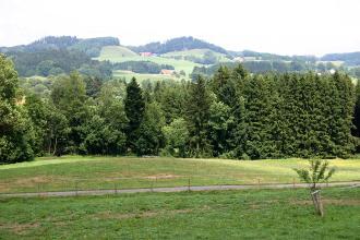 Blick auf rundlich geformte, bewaldete Höhenrücken. Im Vordergrund liegen begrünte Äcker, gefolgt von einem Waldstreifen.