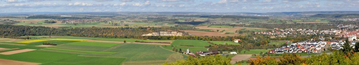 Panoramablick über Baumspitzen auf eine flache, zum Hintergrund hin hügelige bis bergige Landschaft mit Wiesen, Äckern und Waldstreifen. In der Bildmitte ist ein Steinbruch erkennbar, rechts liegt eine größere Siedlung.
